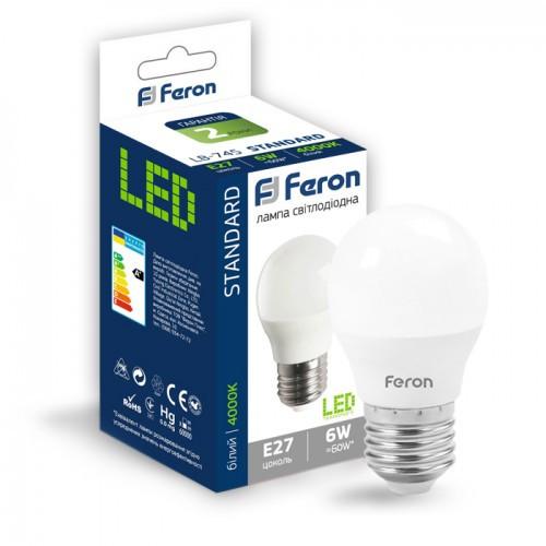 Лампа LED шар 6W E27 яскравий колір LB-745 Feron