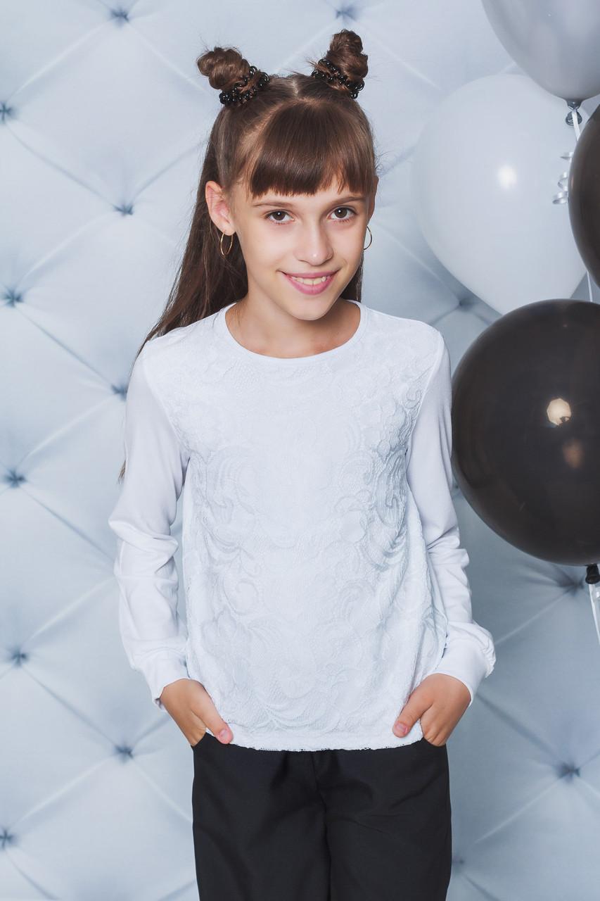 Блузка школьная с длинным рукавом белая