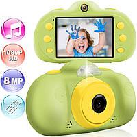 Фотокамера для детей с противоударной системой / Видео / Фотосъемка 8MP 1080P HD / MP3 плеер / Игры Зеленая
