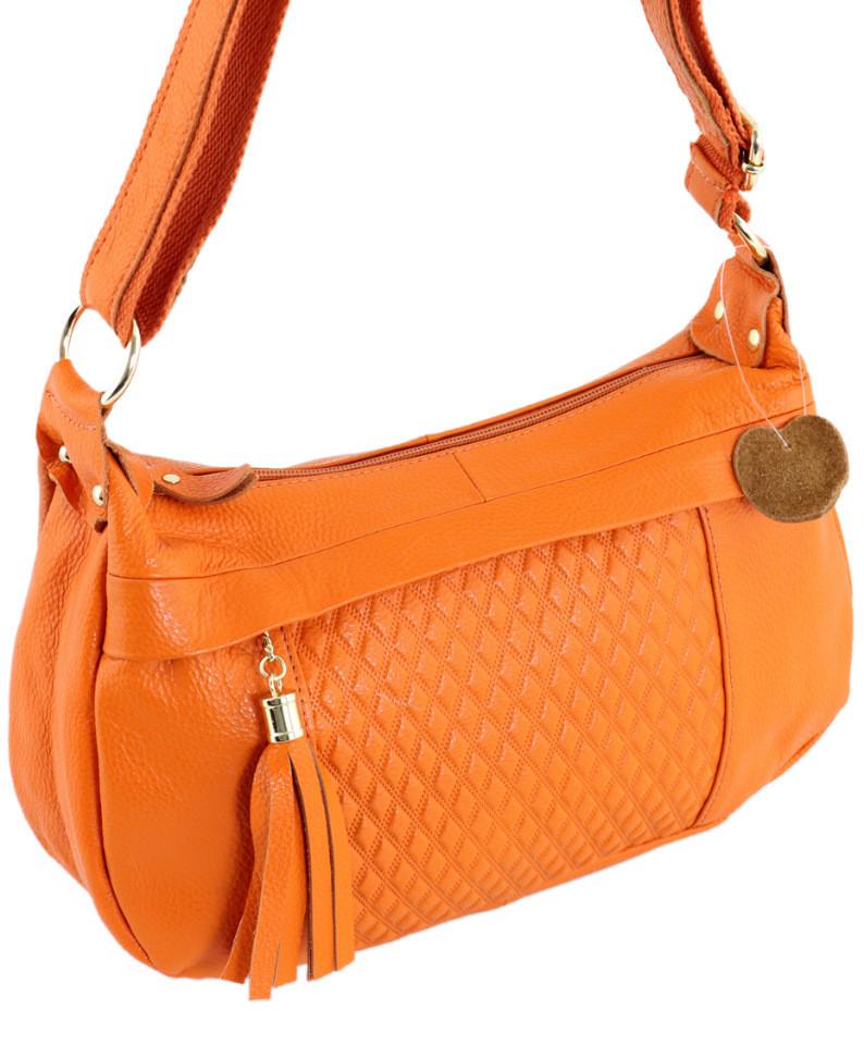 Кожаная женская сумка TRAUM 7322-28 оранжевый