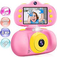 Фотокамера для детей с противоударной системой / Видео / Фотосъемка 8MP 1080P HD / MP3 плеер / Игры Розовая