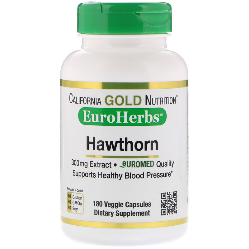 "Боярышник California GOLD Nutrition, EuroHerbs ""Hawthorn Extract"" 300 мг (180 капсул)"