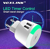 Зарядное устройство Voxlink на 2 USB порта и LED таймером. Сетевое зарядное устройство