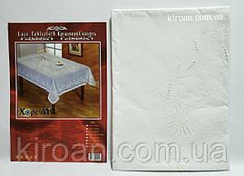 Скатерть полимерная ПВХ кружевная 137х180 см (белая)