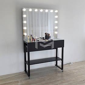 Место визажиста Atlant на роликах ДСП Черное зеркало без рамы 11 ламп, ручка Релинг (Markson TM)