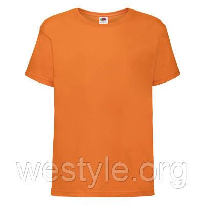 Футболка хлопковая средней плотности мягкая детская - 61015-44 оранжевая