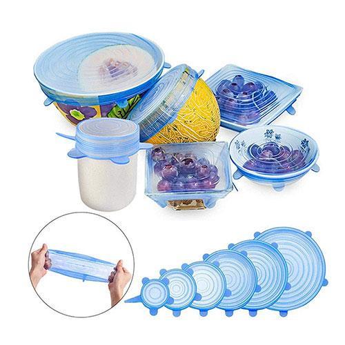 Набор силиконовых крышек для посуды 6 шт универсальные FL 120, фото 1