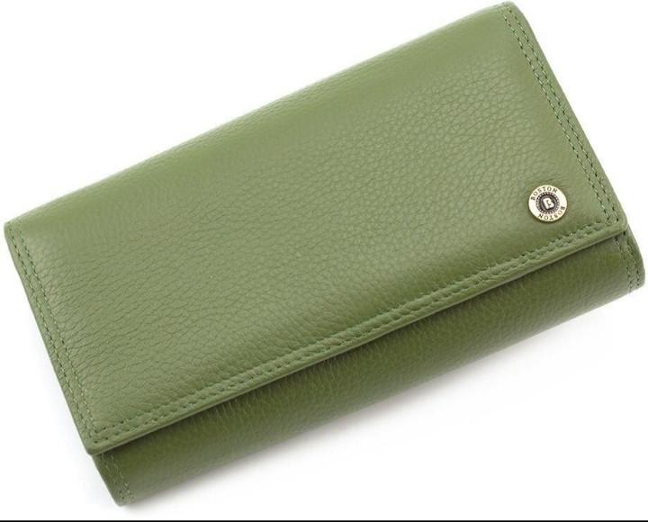 Женский Кожаный кошелек с большой монетницей на защелке BOSTON
