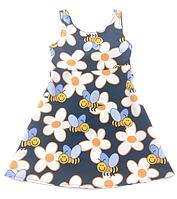 Платье для девочки  прямое синее с пчелами