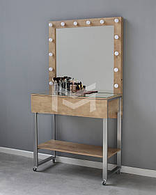Место визажиста Atlant на роликах зеркало в раме ДСП Дуб Сонома 11 ламп (Markson TM)