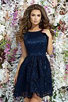Красивое вечернее платье короткое гипюр+атлас выпускное платье размер:42,44,46
