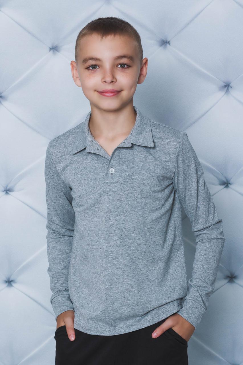 Поло для мальчика с длинным рукавом меланж