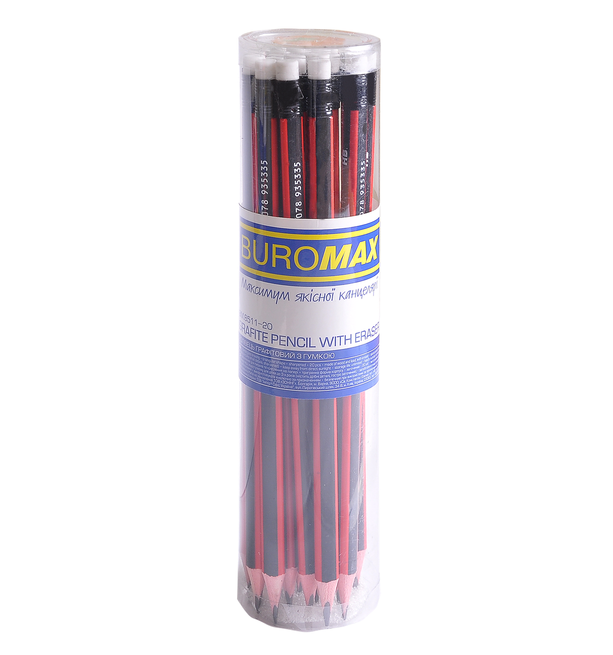 Олівець графітовий Buromax HB асорті