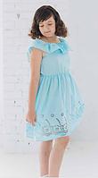 Платье для девочки  прямое батистовое голубого цвета с рюшами