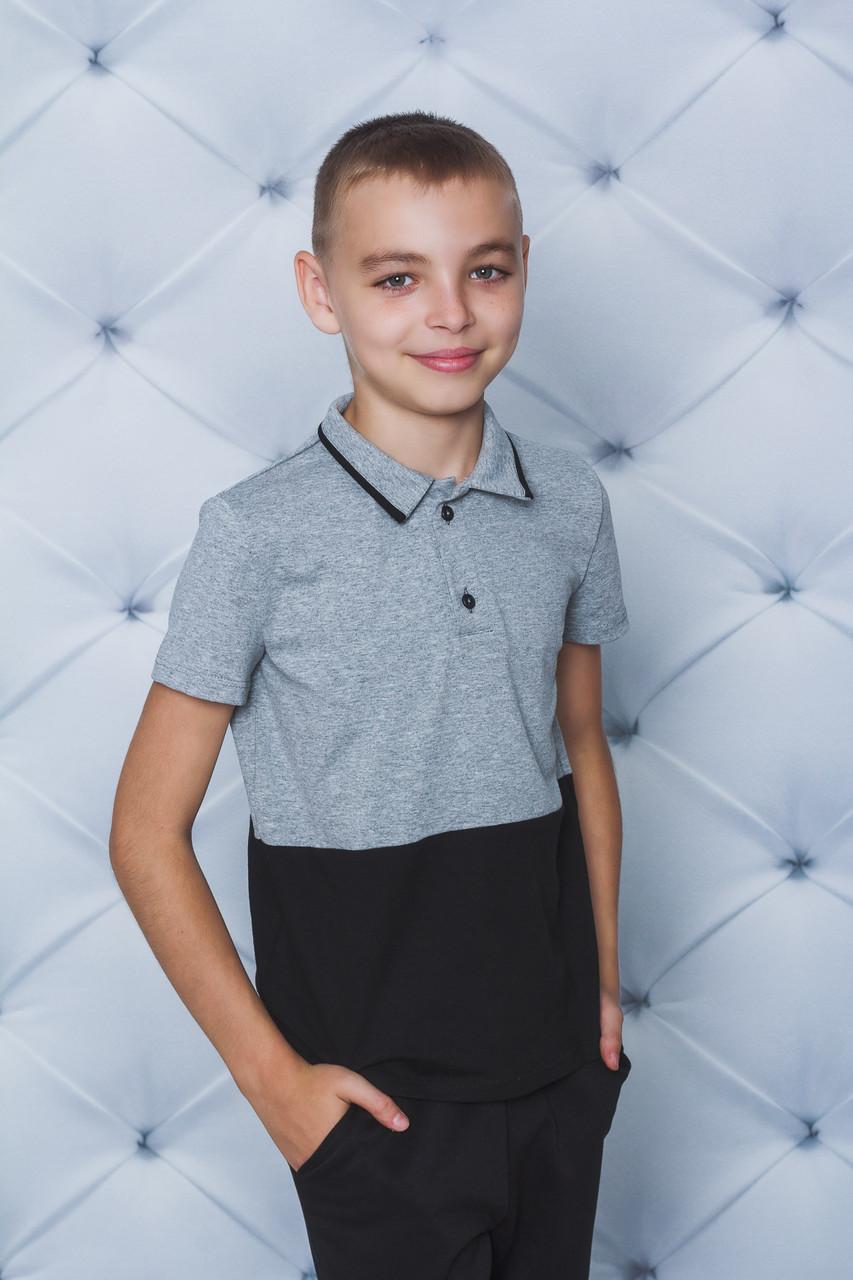 Поло для мальчика с коротким рукавом меланж+черный