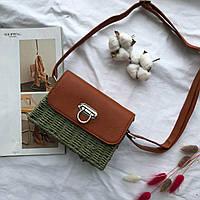 Женская квадратная плетеная сумочка кросс-боди с ремешком зеленого цвета, фото 1