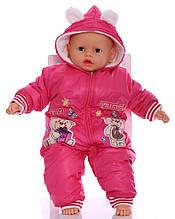 Зимний комбинезон для новорожденных Мишки малиновый