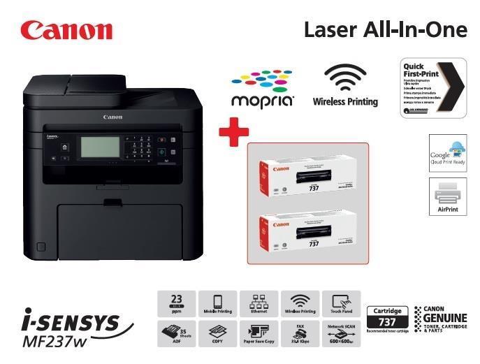 БФП А4 ч/б Canon i-SENSYS MF237w з Wi-Fi (бандл з 2 картриджами)