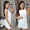 Короткое женское льняное платье декорировано пуговицами 42, 44, 46, 48, фото 2