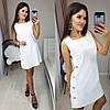 Короткое женское льняное платье декорировано пуговицами 42, 44, 46, 48, фото 3