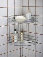 Полка для ванной угловая двойная сетка