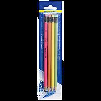 Набор карандашей графитовых Buromax HB неон 4 шт ассорти