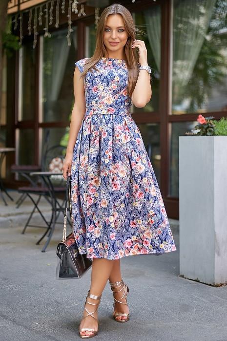 Молодежное летнее женское платье 3580 темно-синий (S-XL)