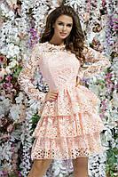 Красивое вечернее платье до колен выпускное платье нежное длинный рукав гипюр размер:42,44,46