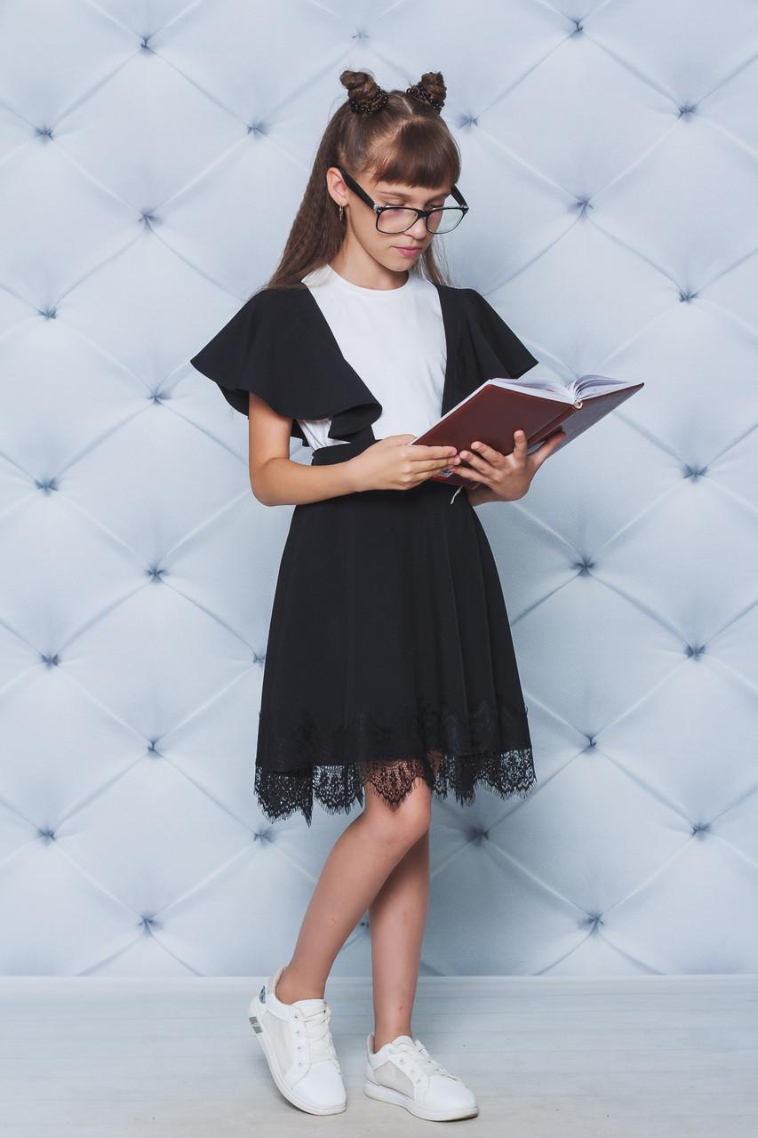 Сарафан школьный с кружевом черный