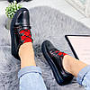 Кроссовки женские черные + красный натуральная кожа )), фото 3