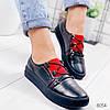 Кроссовки женские черные + красный натуральная кожа )), фото 4