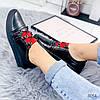 Кроссовки женские черные + красный натуральная кожа )), фото 5