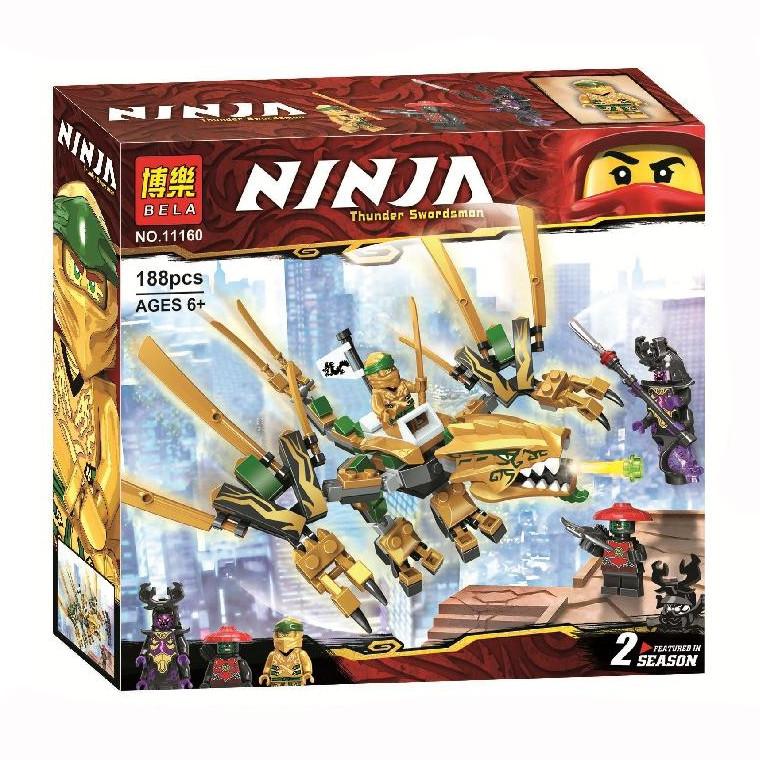 """Конструктор Ninja Bela 11160 """"Золотой Дракон"""" (аналог Lego Ninjago 70666), 188 дет"""