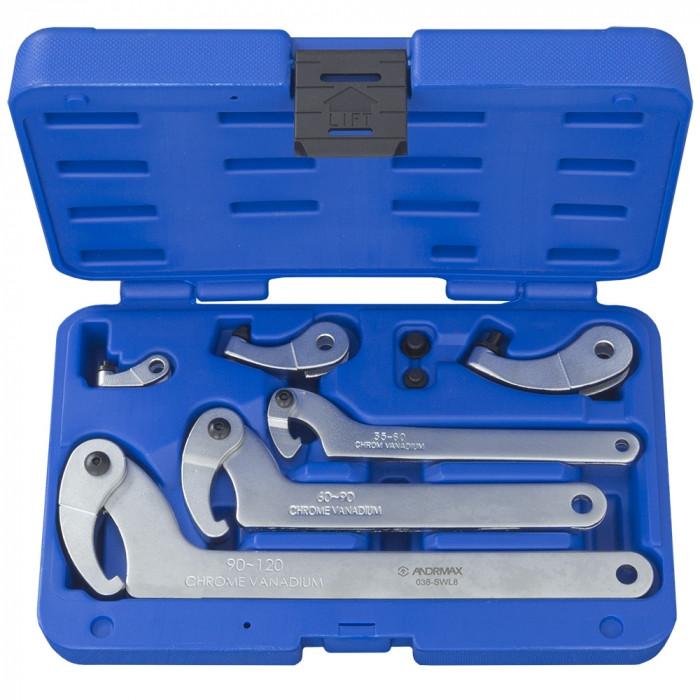 Набор ключей серповидных для круглих шлицевых гаек ANDRMAX