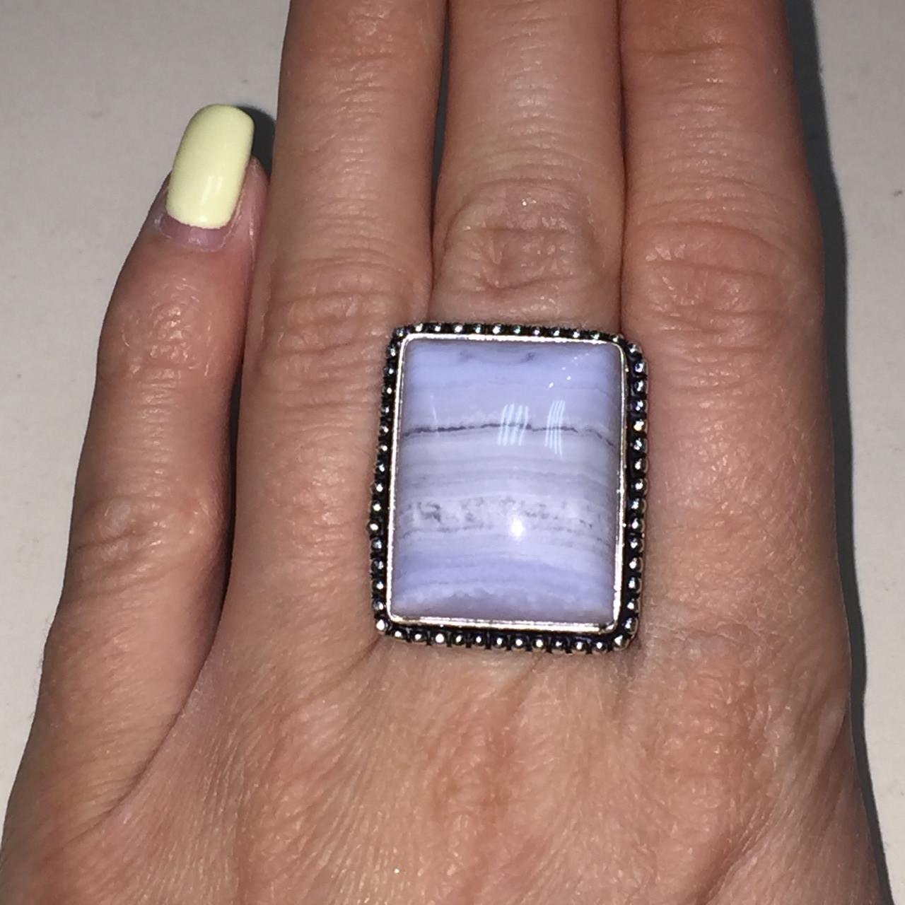 Голубой агат сапфирин кольцо прямоугольное натуральный голубой агат 18 размер Индия