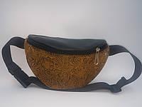 Сумка на пояс бананка Бархатный узор Forsa. Поясная сумка женская.