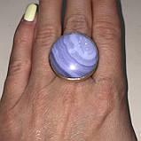 Голубой агат сапфирин кольцо круглое натуральный голубой агат кружевной 21 размер Индия, фото 2