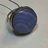 Голубой агат сапфирин кольцо круглое натуральный голубой агат кружевной 21 размер Индия, фото 5