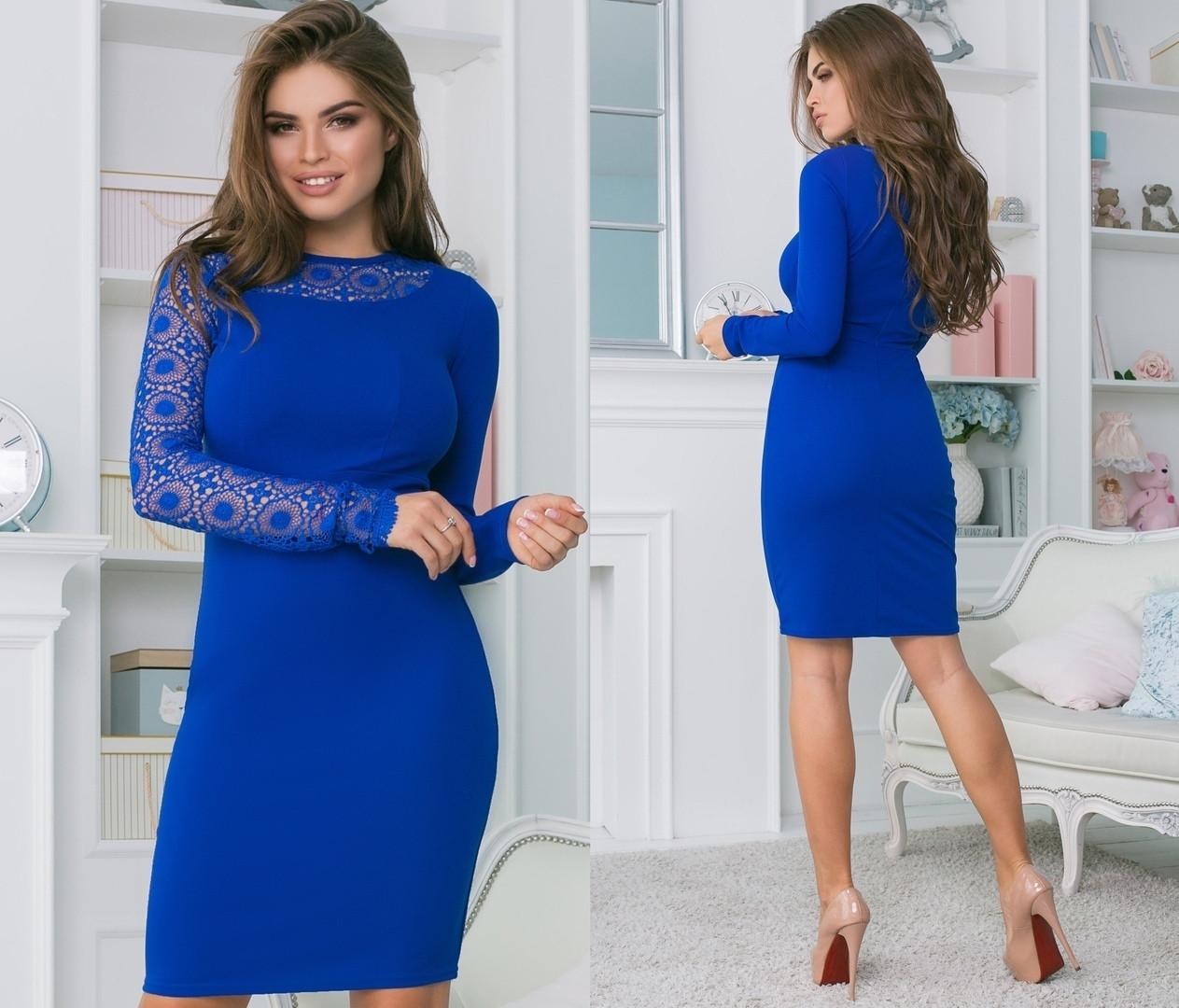 Женское облегающее платье со вставкой макрамэ 42, 44, 46
