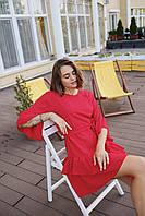 Женское коктейльное платье мини - красное, молоко, фото 2