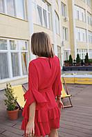 Женское коктейльное платье мини - красное, молоко, фото 3