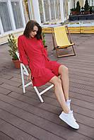 Женское коктейльное платье мини - красное, молоко, фото 4