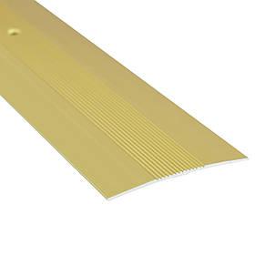 Алюминиевый профиль одноуровневый рифленый анодированный 60мм х 2.7 м золото