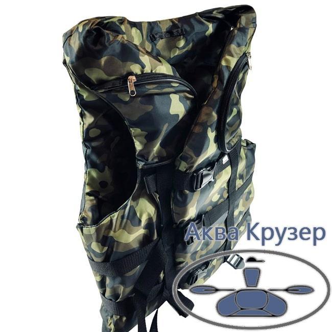 Страховочный жилет 80-100 кг (спасательный жилет) с карманами, цвет камуфляж, сертифицированный