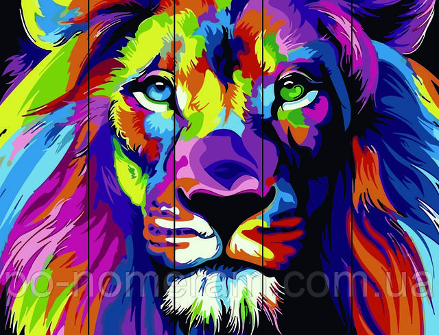 радужный лев раскраска по номерам на дереве купить в Киеве