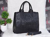 Женская кожаная сумка с текстурой крокодил, фото 1