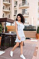 Женское яркое платье мини - голубой принт цветы, фото 3