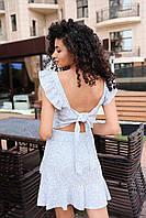 Женское яркое платье мини - голубой принт цветы, фото 4