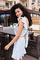 Женское яркое платье мини - голубой принт цветы, фото 5