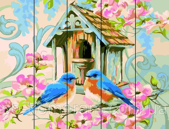 раскраска по номерам на дереве птицы купить набор